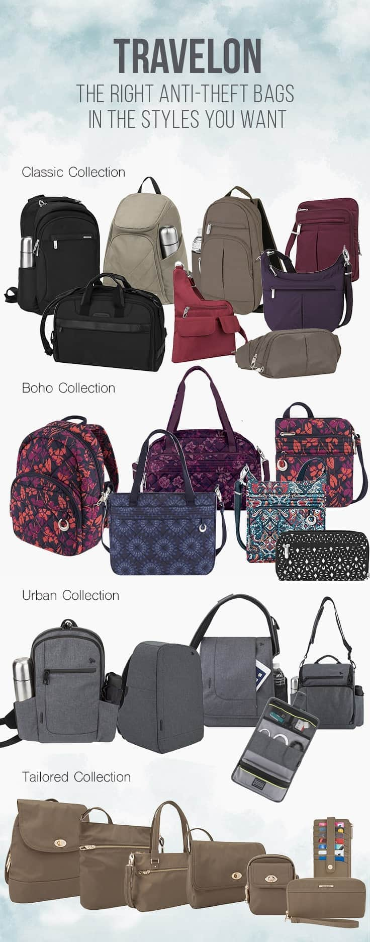 For travel safety and style Travelon anti-theft bags have it all. They feature styles for both men and women in a variety of bags from business cases, carry-on, totes, shoulder bags and clutches. Check out the current 2018 styles. | fashion | bags | travel gear | handbags | luggage | anti-theft | travel safety |